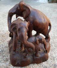 Vintage Beautiful Rose Wood 3 Elephant Family Showing Love Figure/Statue