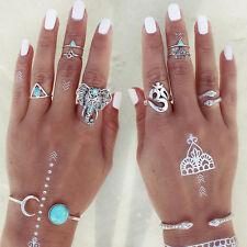 8PCS/Set Fashion Boho Tribal Ethnic Turquoise Hippie Gothic Elephant Snake Ring