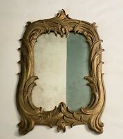 Antique Art Nouveau Carved Wall Mirror 12 x 19 inches with patina