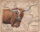 Patty Pendergast Brown Longhorn Map Open Edition Giclee on Canvas 40x32
