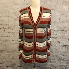 Vintage 70's Pandora Striped Rust Green Long Sleeve Cardigan Sweater M?