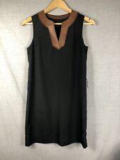 Akiko Women's Sleeveless Shift Dress Silk Black With Leather Trim Size XS