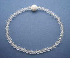 Bergkristall-Armband Edelsteine 4 mm facettiert 925er Silber Kugel Elastikfaden