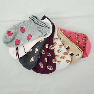 No Show Socks 6 Pack New without Tags Breakfast Morning Graphic Women's 6-11