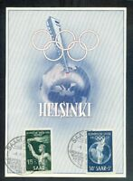 Saar Olympiad Helsinki Maximum Card 314/15 Postmarked(71753