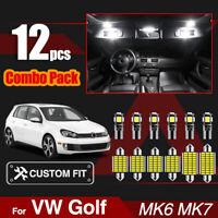 Car Interior LED Light Bulbs Kit CANBSU Vanity Mirror Boot Lamp For VW Golf 6 7