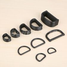 Black Replacement D Ring Buckles Plastic 50/20/10Pcs 5Sizes Luggage Bags Webbing