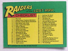 Indiana Jones Raiders Of The Lost Ark Topps 1981 Card 88 Checklist