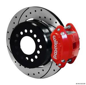 """Wilwood Rear Disc Brake Kit Ford 9"""" Small Bearing w/ 2.50"""" Offset Drilled Red"""