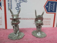 VINTAGE BUGS LOLA BUNNY NUMBERED WEDDING CANDLE HOLDER SET BY SEAGULL PEWTER