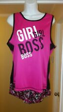 Womens Hot Pink Black and White Tank Top and Shorts Set Size Large
