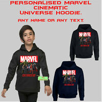 Personalised Marvel Avengers Hero Hoodie Customise Your Name Adult and kids Top
