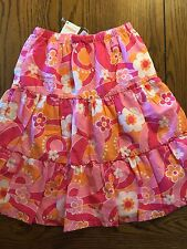 NWT Gymboree Rainbow Cabana Pink Floral Tiered Ruffled Hem Skirt Girls Size 4