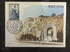1954 Nice France Picture Postcard First Day Cover FDC The Monument Of The Dead