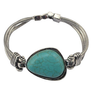 Vintage Green Turquoise Tibetan Silver Chain Shaped Cuff Bracelet for Women