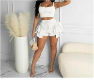 NEW Women 2PC Set Sexy Ruffles Shorts +Pleated Crop Top Vacation Outfits #JS2