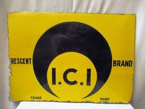 Vintage Porcelain Enamel Sign Board Crescent Brand Chemical & Paint I.C.I Rare*