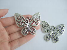 10 x Large Tibetan Silver Tone Butterfly Charms Pendants 58mm Long