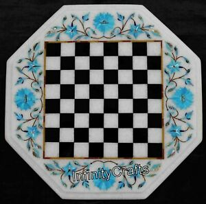 12 Inch Coffee Table Top Marble Chess Table Turquoise Stones King Size 2 Inch