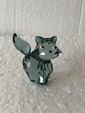 Antique Swarowski Gray Crystal Male Cat Figurine Posing 'Pierre""