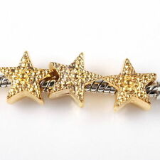 2 x  gold coloured Star Charm Bead Fit European Bracelet  e39