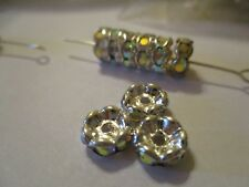 100 Silver Plated 8 mm Crystal AB   Spacer Beads  SPX8