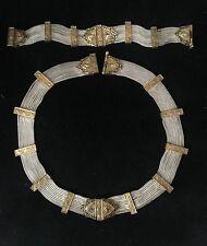 Antique 925 vermeil silver enamel set of necklace bracelet