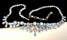 "Rare Vtg 16""x1"" Signed Sherman Rhodium Plated Blue AB Rhinestone Necklace A71"