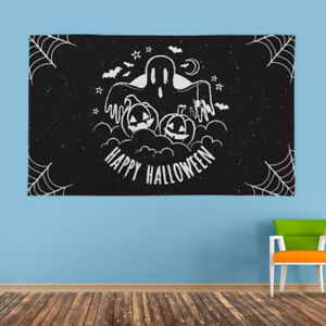 Halloween Banner Black and White Ghost Decoration Scary Horror Flag 4 Eyelet