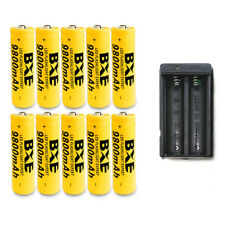 10PCS 18650 BXE 9800mAh Li-ion 3.7V Rechargeable Batteries + 1 Dual Charger New