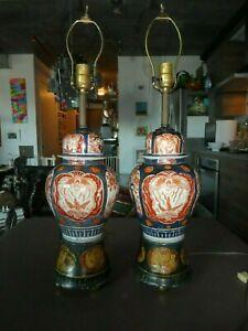 PAIR OF ANTIQUE JAPANESE IMARI LAMPS