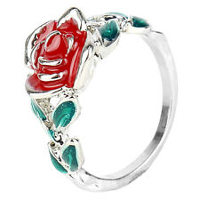 Beauty and the Beast Movie Fashion Red Rose Flower Green Leaf Ring Girls Jewelry