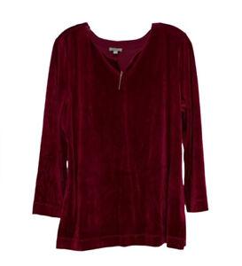 Talbots NWT Burgundy Velour Split Neck Pullover Top Size Large Petite