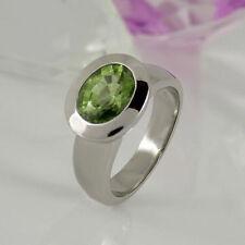 Ovale Ringe mit echten Edelsteinen aus Weißgold für Damen