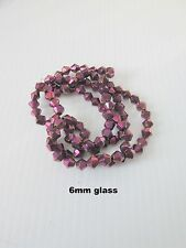 100pcs 6mm purple plated bicone crystal glass beads spacers  jewellery making UK