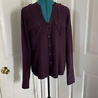 Lafayette 148 New York Purple Silk Button Down Blouse Shirt Top Size 10