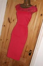 Pink stretchy lace bodycon pencil wiggle party evening cocktail dress size 12 14