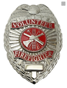 Volunteer Fire Fighter Metal Badge, Silver Color #4185N