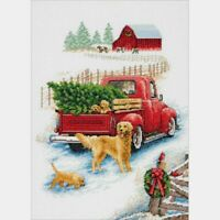 """Dimensions Counted Cross Stitch Kit Winter Ride 10"""" X 14"""" 14 Count"""