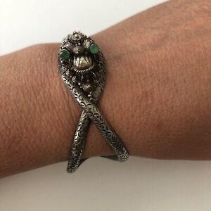 "Unique Solid Sterling Silver Snake Cuff Bracelet, Emerald Eyes, 6 3/4"", 925,"