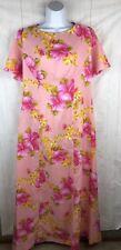 New Vintage 60s Hookano Pink Floral Hawaiian Maxi Dress Dead Stock Sz 14