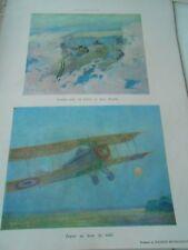 WWI Avions Combat entre un Letord et 2 Aviatiks Print 1918 Illustration