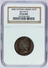 1868 Liberia 1 One Cent Proof Copper Pattern Coin - NGC PF 64 BN - KM# Pn15
