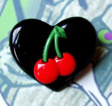 CHERRIES BLACK HEART BROOCH PIN ROCKABILLY BURLESQUE CHERRY BB