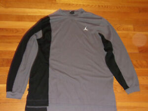 AIR JORDAN LONG SLEEVE GRAY/BLACK THERMAL SHIRT MENS LARGE EXCELLENT CONDITION