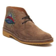 Gucci hombre ante bordado botas Marrón