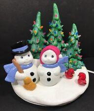 Lighted Ceramic Snowman Christmas Trees
