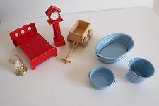 7 Misc Vintage Doll House Items - Bed, Cart, 2X Clocks, & 3X Buckets / Bath