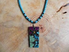 "Turquoise, Sugilite FLOWER Inlay Pendant on Turquoise Necklace 20"" Santo Domingo"
