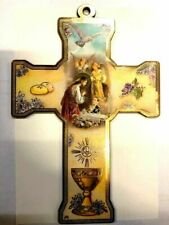 Wooden Wall Religious Cross Icon- First Holy For Boy Communion Gift Plark
